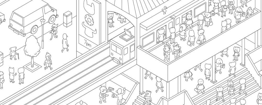 Карта города настольной игры МикроМакро: Город Улик. Надземка