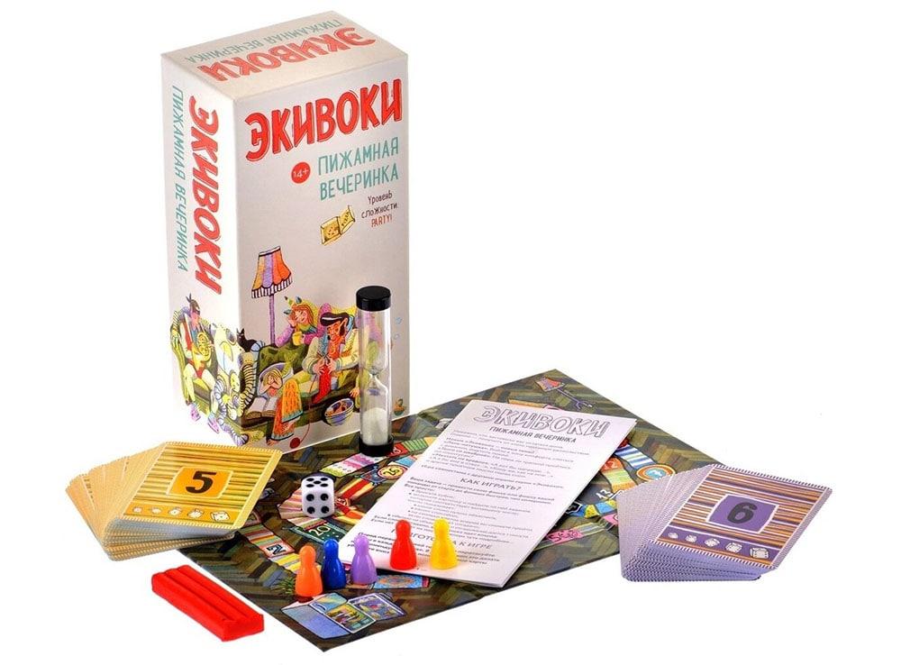 Коробка и компоненты настольной игры Экивоки. Пижамная вечеринка