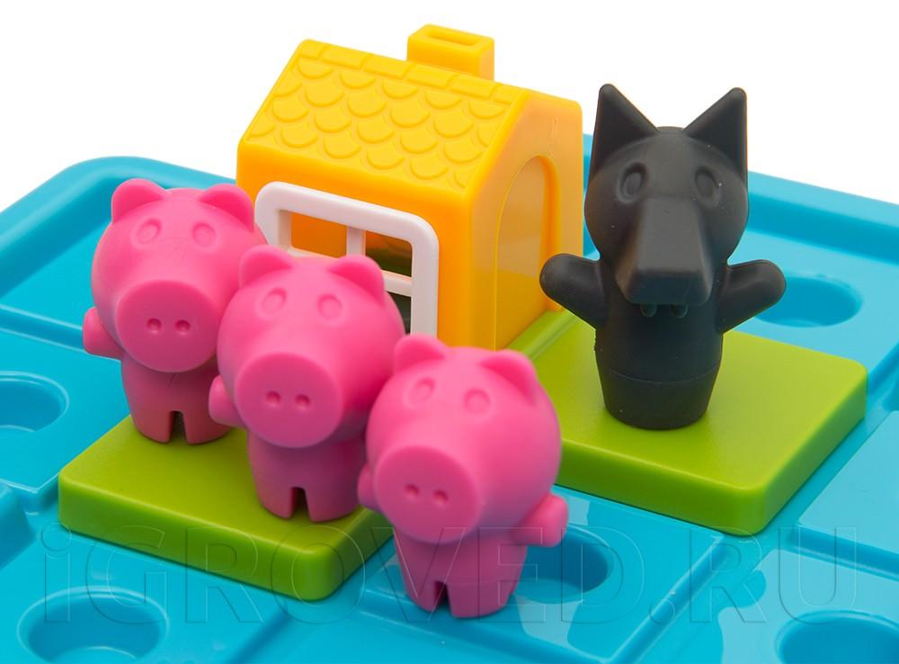 Компоненты настольной игры-головоломки Три маленьких поросёнка
