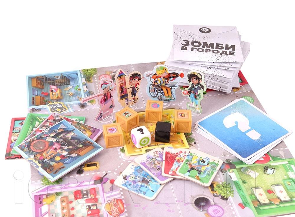 Компоненты настольной игры Зомби в городе