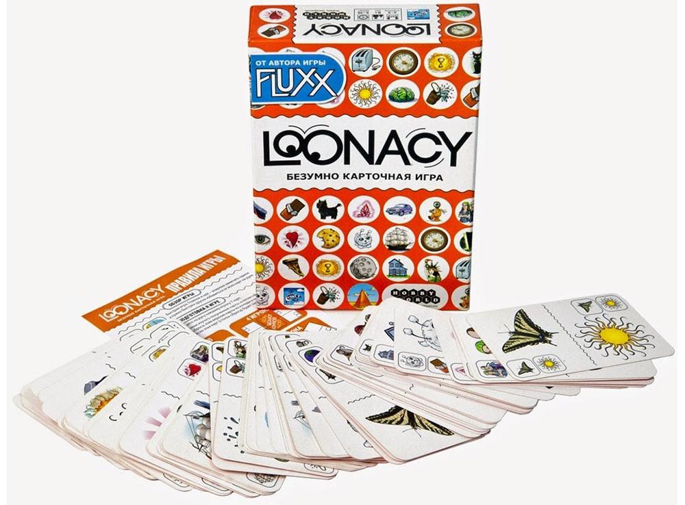 Коробка и компоненты настольной игры Loonacy