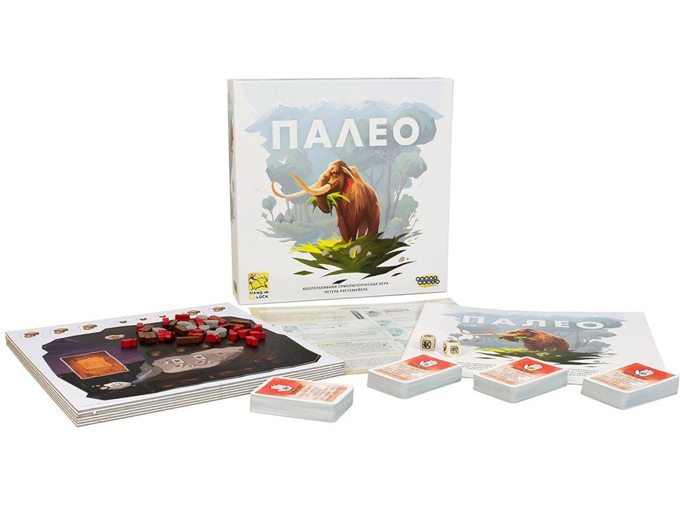 Коробка и компоненты настольной игры Палео