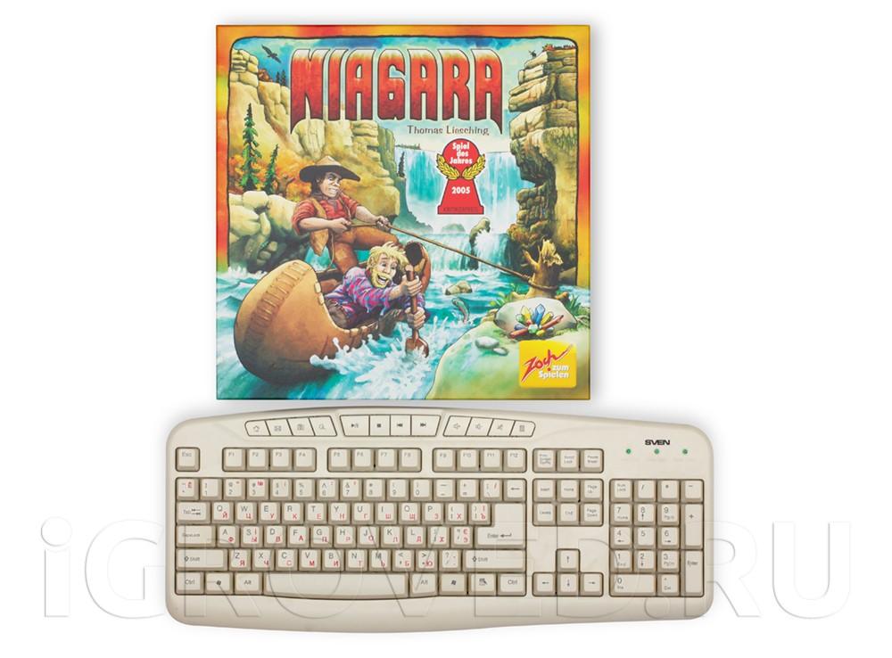 Коробка настольной игры Ниагара (Niagara) в сравнении с клавиатурой