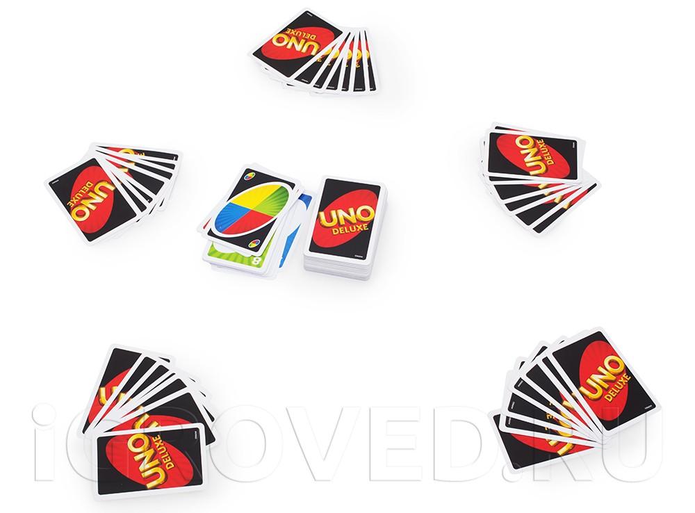 В настольную игру Уно Делюкс могут играть до 10-ти игроков.