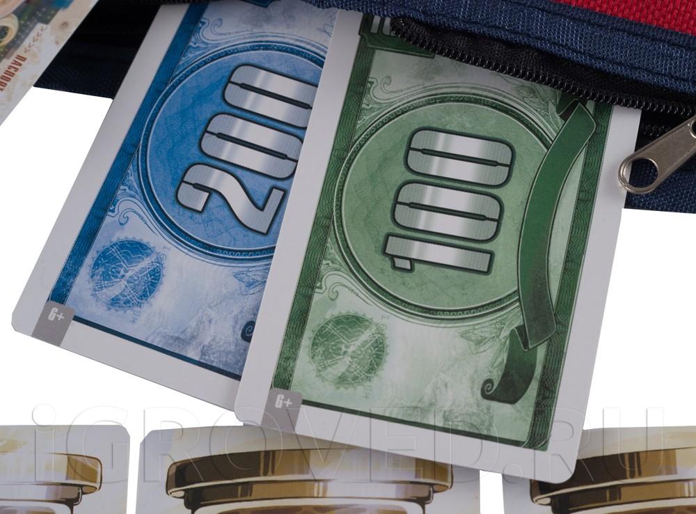 В кошельке лежат купюры различных валют. К концу раунда у вас на руках должно остаться не более двух видов. Настольная игра Бумажник