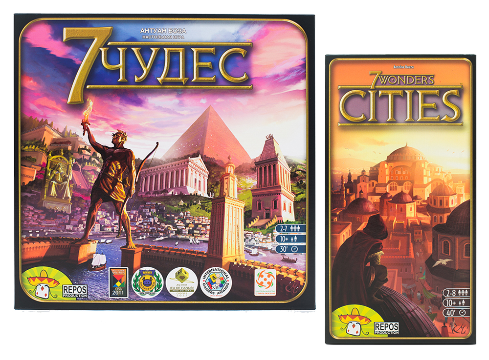 Настольная игра 7 Чудес + дополнение Города