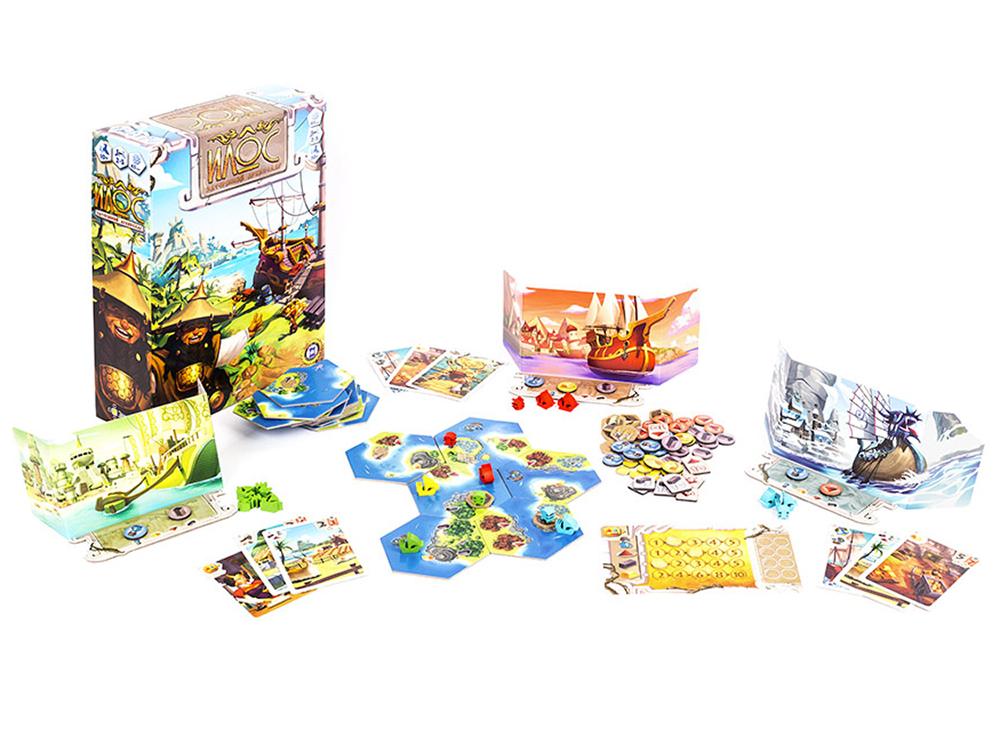 Коробка и компоненты настольной игры Илос. Затерянный архипелаг